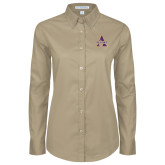 Ladies Khaki Twill Button Down Long Sleeve-Alcorn Official Logo
