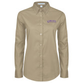 Ladies Khaki Twill Button Down Long Sleeve-Arched Alcorn State University
