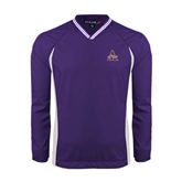Colorblock V Neck Purple/White Raglan Windshirt-Alcorn Official Logo
