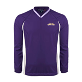 Colorblock V Neck Purple/White Raglan Windshirt-Arched Alcorn State University