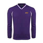 Colorblock V Neck Purple/White Raglan Windshirt-ASU
