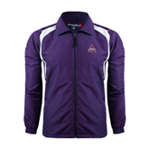 Colorblock Purple/White Wind Jacket-Alcorn Official Logo