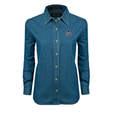Ladies Denim Long Sleeve Shirt-Alcorn Official Logo