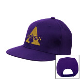Purple Twill Flat Bill Snapback Hat-Alcorn A