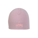 Pink Knit Beanie-Alcorn Official Logo