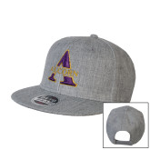 Heather Grey Wool Blend Flat Bill Snapback Hat-Alcorn A