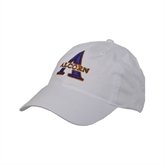 White Twill Unstructured Low Profile Hat-Alcorn Official Logo