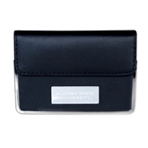 Leather Black Business Card Case-Alcorn State University Engrave
