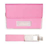 Business Card Case and Key Ring Set Pink-Alcorn State University Engrave