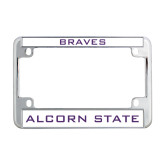 Metal Motorcycle License Plate Frame in Chrome-Braves