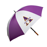 64 Inch Purple/White Umbrella-Alcorn Official Logo