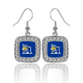 Crystal Studded Square Pendant Silver Dangle Earrings-A Logo