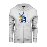 ENZA Ladies White Fleece Full Zip Hoodie-A Logo