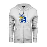 ENZA Ladies White Fleece Full Zip Hoodie-A Logo