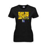 Ladies Black T Shirt-Fear the Yellow Jackets
