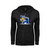 ENZA Ladies Black Fleece Full Zip Hoodie-A Logo