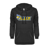 ENZA Ladies Black V Notch Raw Edge Fleece Hoodie-Official Logo