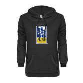 ENZA Ladies Black V Notch Raw Edge Fleece Hoodie-Edu Mark