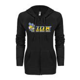 ENZA Ladies Black Light Weight Fleece Full Zip Hoodie-Official Logo