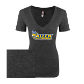 Next Level Ladies Vintage Black Tri Blend V-Neck Tee-Official Logo