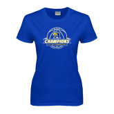 Ladies Royal T-Shirt-2016 A.I.I. NAIA Tournament Champions Womens Basketball