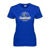 Ladies Royal T Shirt-2016 A.I.I. NAIA Tournament Champions Womens Basketball