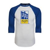 White/Royal Raglan Baseball T Shirt-Edu Mark