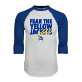 White/Royal Raglan Baseball T Shirt-Fear the Yellow Jackets