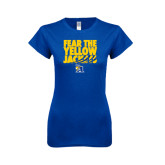 Next Level Ladies SoftStyle Junior Fitted Royal Tee-Fear the Yellow Jackets