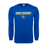 Royal Long Sleeve T Shirt-Stacked words Cross Country