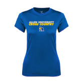 Ladies Syntrel Performance Royal Tee-Stacked words Cross Country