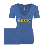 Next Level Ladies Vintage Royal Tri Blend V-Neck Tee-Official Logo