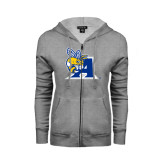 ENZA Ladies Grey Fleece Full Zip Hoodie-A Logo