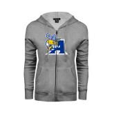 ENZA Ladies Grey Fleece Full Zip Hoodie-A Logo