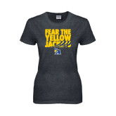 Ladies Dark Heather T Shirt-Fear the Yellow Jackets