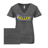 ENZA Ladies Graphite Melange V Neck Tee-Official Logo