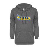 ENZA Ladies Dark Heather V Notch Raw Edge Fleece Hoodie-Official Logo