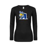 Ladies Black Long Sleeve V Neck T Shirt-A Logo