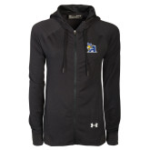 Ladies Under Armour Black Varsity Full Zip Hoodie-A Logo