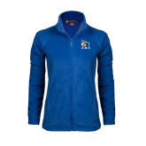Ladies Fleece Full Zip Royal Jacket-A Logo