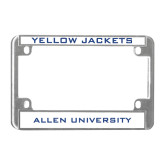 Metal Motorcycle License Plate Frame in Chrome-Yellow Jackets