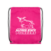 Pink Drawstring Backpack-Primary Mark - Athletics