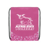 Nylon Pink Bubble Patterned Drawstring Backpack-Primary Mark - Athletics