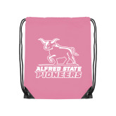 Light Pink Drawstring Backpack-Primary Mark - Athletics