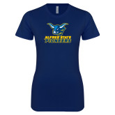 Next Level Ladies SoftStyle Junior Fitted Navy Tee-Ox Head Lock Up