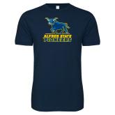 Next Level SoftStyle Navy T Shirt-Primary Mark - Athletics