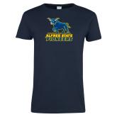 Ladies Navy T Shirt-Primary Mark - Athletics