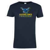 Ladies Navy T Shirt-Official Artwork Distressed 1