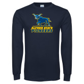 Navy Long Sleeve T Shirt-Primary Mark - Athletics