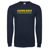 Navy Long Sleeve T Shirt-Word Mark
